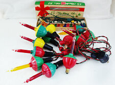 NOMA Bubble Light String w/Wooden Bead Branch Holder 1950-70s Christmas Lot EVC