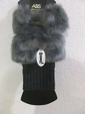 ABS Faux Fur Knit Boot Topper Gray Legwarmers