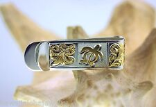 15mm Hawaiian 2-Tone Sterling Silver Engraved Turtle Regal Scrolls Money Clip #1