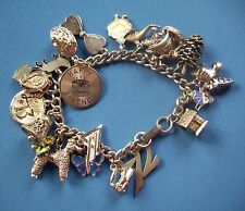 LOADED VINTAGE STERLING SILVER CHARM BRACELET WITH 22 CHARMS 61 GRAMS