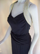 BEADS Halter Hip Swag Long Black Goddess Holiday Party Trophy Gown Dress 10 NWT