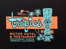 TROPICS HOTEL MODESTO CA T-SHIRT BLACK SIZE X-LARGE NEW VINTAGE TIKI BAR NOT MUG