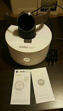 Motorola Moto 360 46mm smart watch gray leather android bluetooth