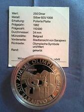 250 Dinar Jugoslawien 1982 Olympiade Sarajevo 1984 Silber Ag PP