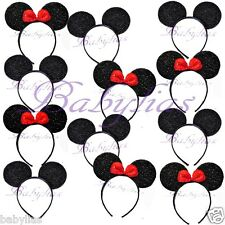30 Minnie and Mickey Mouse Headbands Ears Red Bows Sparkle Shimmer Sequin Favors