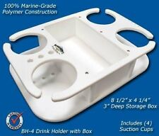 Deep Blue Marine - Four Cup/Drink Holder w/ Storage - Boat, Lake, Party - BH4