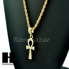 "MEN'S GOLD PLATED ICED OUT ANKH CZ PENDANT HIP HOP 24"" ROPE CHAIN NECKLACE 247"