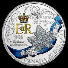 2016 $20 Canada Silver Queen 90th Birthday Celebration Color Proof Coin #877!