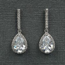 Hot 18K White Gold Plated Cubic Zirconia CZ Wedding Bridal Drop earrings 07749