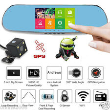 5'' Touch Screen HD 1080P Dual Lens WiFi GPS Car DVR Rearview Mirror Camera Dash
