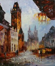 Original Prague Oil painting Wall art Deco On Canvas knife Hand Painted prg012