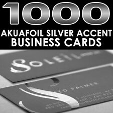 PERSONALIZED SILVER FOIL ACCENT 1000 FULL COLOR GLOSSY AKUAFOIL BUSINESS CARDS