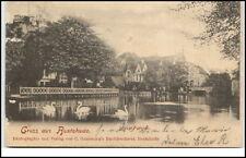 Buxtehude Niedersachsen AK 1901 gelaufen Partie am Fluß mit Schwänen Brücke