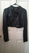 New Look Black Faux Leather Crop Jacket Womens Teen Casual Fashion Accessory szL