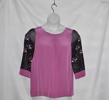 Bob Mackie Organza Sleeve Silk Blouse W/Embroidery & Pleat Detail Size 1X Pink