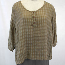 NEW NWOT Flax Plus Size Rodeo Tee Vicuna Plaid 100% Linen Peasant Blouse 2G (2X)