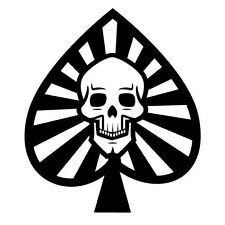 SKULL IN ACE OF SPADES  CAR DECAL STICKER