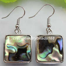 New Zealand Abalone Shell Square Beads Dangle Earrings Pair R033