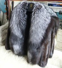 REAL MINK FUR JACKET SIZE S/M & SILVER *SAGA* FOX FUR COLLAR WRAP NEW!