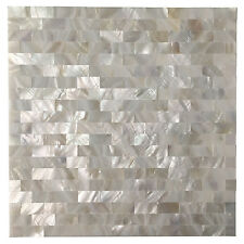 Peel and Stick Mother of Pearl Shell Mosaic Tile for Kitchen Backsplashes, White
