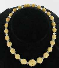 """ANTIQUE CHINESE CARVED BEADS 1920s &  CRYSTAL 14""""  CHOKER NECKLACE LOVELY"""