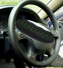 FOR CHRYSLER CROSSFIRE 03-07 TOP BLACK LEATHER STEERING WHEEL COVER GREEN STITCH