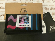 QUIKSILVER Tri-fold Wallet BNMO Large Black Polyester Velcro Coin Wallets BNWT