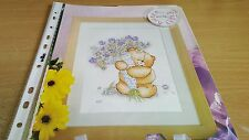 CROSS STITCH CHART  FOREVER FRIENDS BEAR CHART HOLDING FLOWERS