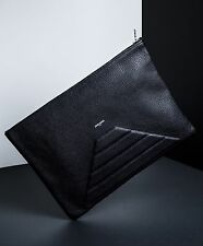 New Jerome Bocchio Paris Avon Black Leather Clutch Bag Made In Canada