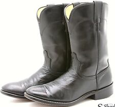 LAREDO Mens Cowboy Boots 7.5 D Black Leather Foot Manmade Bal Western Roper