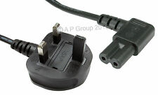 1.8m Figure 8 Mains Radio Lead C7 Power 90° Degree Bent Head to 3 pin UK plug