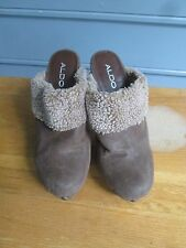 """ALDO cocoa suede & shearling 5"""" studded heels, Sz 37 (7), gently used, fall chic"""
