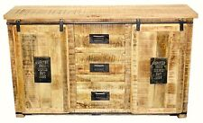 Country Timber Sideboard Cabinet Buffet Storage Retro Industrial Vintage Metal