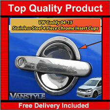 VW CADDY STAINLESS STEEL CHROME 4 DOOR HANDLE INSERT SURROUND CUP SET TRIM MAXI
