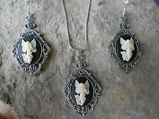 GUARDIAN ANGEL (GORGEOUS WINGS) CAMEO NECKLACE AND EARRINGS SET -- QUALITY!!