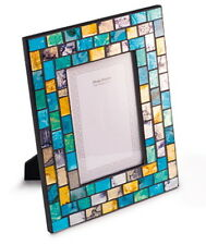 Handmade Mosaic Glass Turquoise & Gold Photo Picture Frame 6 x 4""