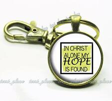 In Christ Alone My Hope is Found Religious Quote Glass Top Key Chain