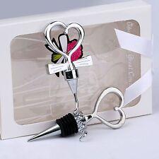 Boxed Gift Love Heart Red Wine Bottle Corksrew Opener Stopper Set Wedding Favors