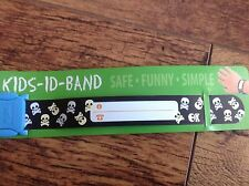 Kids ID BAND skull CHILD RE USEABLE BRACELET HOLIDAY CONTACT DETAILS autism ADHD