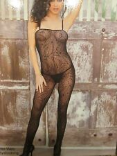 ELEGANT MOMENTS HOLLOWEEN SPIDER WEB BODYSTOCKING CROTCHLESS BLK 1 SIZE