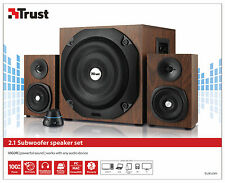 NEW TRUST VIGOR WOOD EFFECT 2.1 SPEAKER SET WITH 100W PEAK, 50W RMS POWER