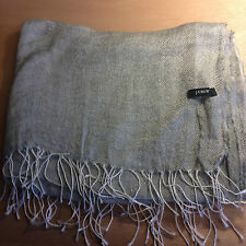 "J CREW fringed silver gray linen shawl wrap scarf 24"" x 70""  plus 2.5"" fringes"
