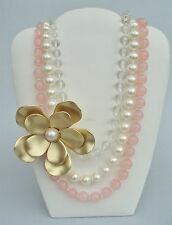 VCLM Translucent Clear Pink Lucite Faux Pearl Beaded Gold Flower Necklace