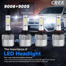 4PCS Combo CREE COB 9005 9006 LED 240W 24000LM Headlight Kit Beam 6500K White