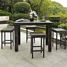 5PC Wicker Rattan BAR Stool Table DINING SET Patio Garden Pool OUTDOOR Furniture