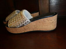 NEW BOXED DONALD J PLINER SAFARI 3 WOVEN METALLIC WEDGE SANDAL SHOES PEWTER 8M