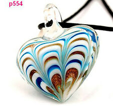 1pc heart lampwork art glass bead pendant necklace p554