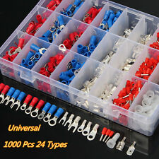 1000Pcs Insulated Crimp Terminals 24 Types Kit Car Electrical Cable Assorted Set
