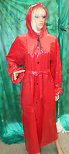 shiny lip stick red pvc vinyl  raincoat hooded mackintosh tv fetish XL