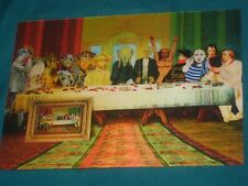 Lenticular animated postcard Last Supper with famous Characters from art